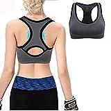 High Impact Reggiseno Sportivo Donna Elasticizzato Canottiera di Allenamento Yoga Fitness Jogging Racerback Sports Bra(Grigio,XL)