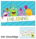 12 Einladungskarten mit 12 Briefumschlägen zum Kindergeburtstag / schöne Einladungen zum Geburtstag für Mädchen und Jungen