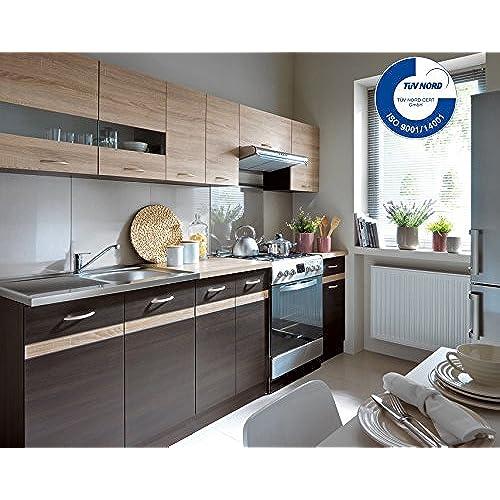Küche 240cm von fiwodo erweiterbar günstig schnell einbauküche junona line set 240 4 fronten wählbar wenge sonoma
