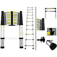 Todeco Escalera Telescópica Plegable, EN 131, Carga máxima: 150 kg, Aluminio, 3.2 m