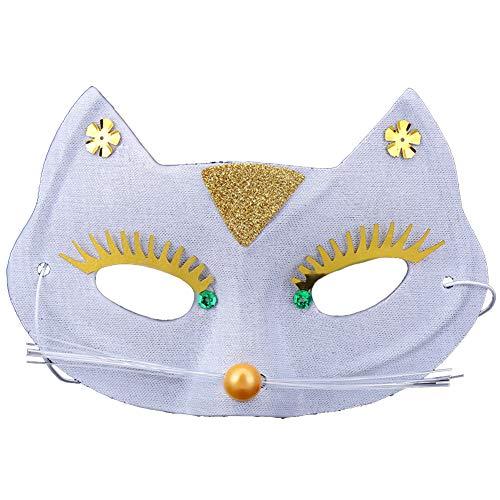Scrox 1 Pieza Máscaras Venecianas Dibujos Animados Gato Máscaras Halloween Mujer,Hombre Vestidos de Fiestas de Niña Navidad Decoracion Creativo DIY Cosplay (Blanco)