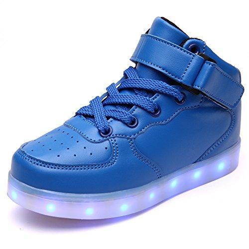 Vilocy scarpe da ginnastica unisex per bambini con luci led lampeggianti in 7 colori, ricaricabili con cavo usb, blu