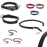 CarlCurt Classic-Line Hundehalsband & Hundeleine im Set, aus strapazierfähigem Nylon, L 40-63cm & L 1,90m, schwarz