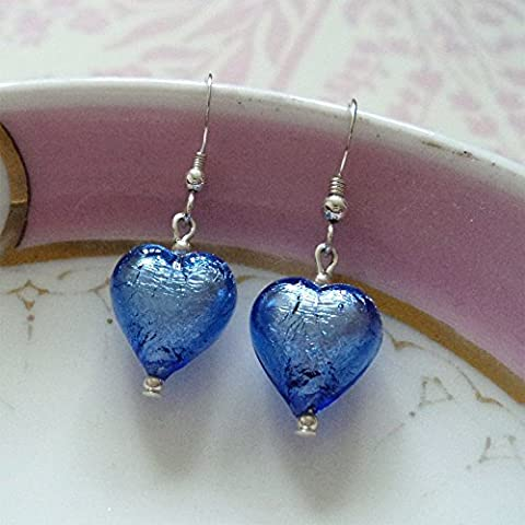 Diana Ingram blue Murano glass small heart (13mm) earrings on