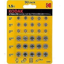 Kodak Xtralife - Lot de 30 piles bouton alcalines AG1 364 - AG3 392 - AG4 337 - AG10 389 - AG12 386 - AG13 357
