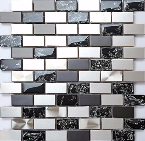 30x30cm Silver and Black Stainless Steel & Black Crackle Glass Brick Bathroom Kitchen Feature Mosaic Tiles Sheet (MT0137)
