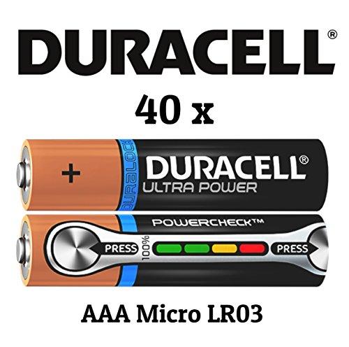 Duracell Ultra Power MX2400 AAA/Micro/LR03 Batterien, 40 Stück