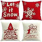 Cuscino di Christmas, Longra 4 PCS rimovibili e lavabili 45cm * 45cm Merry Christmas Decorazioni a tema stampate decorative