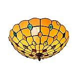 16-Zoll-Tiffany-Stil Deckenleuchte Creative Mediterranean Glasmalerei Deckenleuchten Wohnzimmer Schlafzimmer Dekoration Kronleuchter Leuchte E27 × 3, 110-240V (Glühbirnen nicht enthalten) Warme Farbe