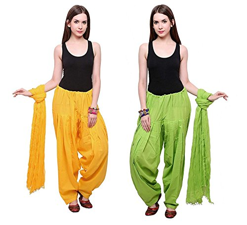 Women\'s Cotton Patiala Salwar with Dupatta Set Combo (Mustard and Parrot_Free Size) By Yelook