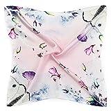 Neuleben Nickituch aus 100% Seide Tuch Schal für Damen Mädchen Blumenmuster Halstuch Kopftuch (G)