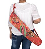 #5: Jaipur Classic Cotton Hand Barmeri Printed Yoga Mat Cover with Strap Red Color