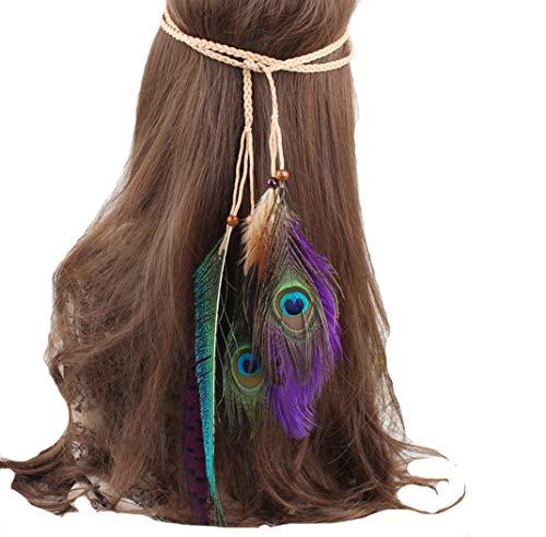 FORLADY Indische böhmischen ethnischen Wind Hippie Quaste Haar Seil Pfauenfeder Kopfschmuck weibliche Meer Haarband Bair Zubehör