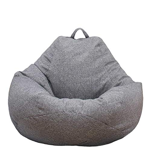 Bazgo Large Bean Bag Chairs Sofa Cover,Solid Color Simple Design Seat Recliner Outdoor and Indoor Lazy Lounger for Adults and Kids with No Filling (S,Grey)