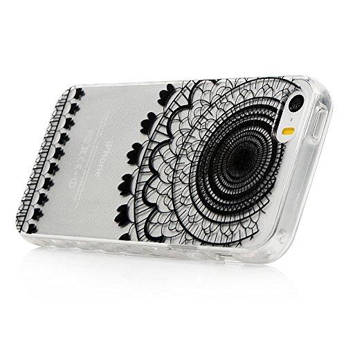 iPhone 5/iPhone 5S Coque Transparente de Illustration Originale en TPU Souple Case Cover [Style de Ciselage]-ZSTVIVA Girafe Adorable Dessin 6