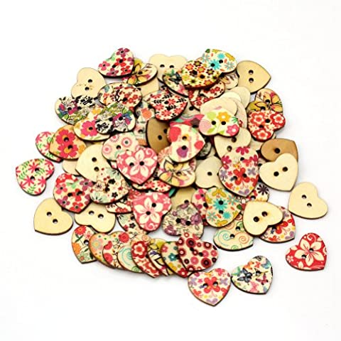 Leegoal 100 Pcs Mixed Printed Flower Heart Shape Wooden Sewing