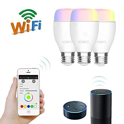 E27-LED-Dimmbar-Lampe-mit-Fernbedienung-Funktioniert-mit-Amazon-Alexa-Echo-AlexaICOCO-RGB-Wireless-Timer-Schalter-Mehrfarbig-Glhlampe-IOS-Andriod-App-Control-Energieklasse-A