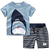 Knowin Jungen Cartoon Shark Kurzarm T-Shirt + Gestreifte Shorts Set Strampler Spielanzug Baby Toddler Neugeborenes Kinderkleidung Vatertagsgeschenk