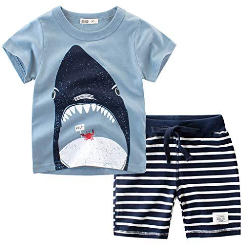 TTLOVE  Mode Jungen Kleidung,Kleinkind Kinder Baby Outfits Set Cartoon Drucken Tops T Shirt+Shorts Sommer Bekleidung Kinderkleidung Freizeit KostüM (Blau,90 cm,18-24 Monate)