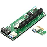 Buyyart USB 3.0 PCI-E Express 1x to16x Extender Riser Card Adapter SATA Power Cable