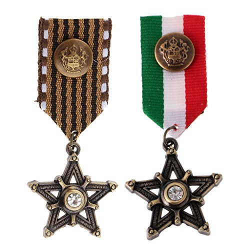 chiwanji 2 Stücke Vintage Abzeichen Brosche Stern Anhänger Medaille Band Kostüm Party Kleid Geschenk -