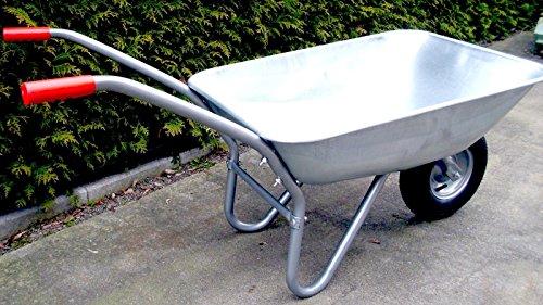 Schubkarre 80L für Garten, Bau und Stall mit Stahlfelge, Vollverzinkt, Pulverbeschichtet