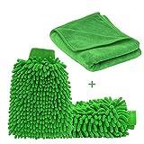 Cleany Car Waschhandschuh aus Weiche Mikrofaser Chenille und Ein Mikrofasertuch im 3er-Pack zur Autopflege Zwei Autowaschhandschuhe und Ein Poliertuch