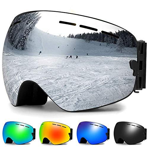 Zerhunt Skibrille, Snowboard-Schutzbrillen mit Anti-Nebel,UV-Schutz,Winddicht Skibrille für Wintersportarten, Skifahren, Skaten, Damen,Herren,Brillenträger (Silbe) r -