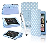 eLifeStore® Google Nexus 7 Tablet Case Polka Dots Integrated Stand Case Cover with Magnetic Sleep / Wake Sensor, Includes Bonus Screen Protector & Stylus Pen (Blue and White Polka Dot)