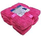 A-Express Rosa 200cm x 240cm Warme Weich groß Teddy Fleecedecke Sofadecke Tagesdecke Kuscheldecke Bed Decke