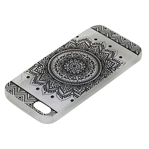 iPhone 5S Hülle, iPhone SE Hülle, Gift_Source [ Meow Cat ] Hülle Case Transparent Weiche Silikon Schutzhülle Handyhülle Schutzhülle Durchsichtig TPU Crystal Clear Case Backcover Bumper Case für iPhone E1-Mandala