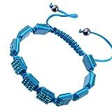 Kadima Crystal Square Pave Beads Square Shamballa Adjustable Bracelet,Unisex,10x10mm Resin Square Beads With Blue Zircon Gems,Color String