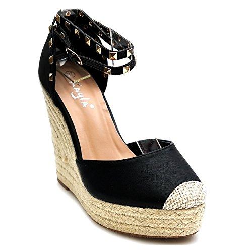 Trendige Damen Riemchen Keil Sandaletten Pumps Keilabsatz Wedges High Heels Schuhe Bequem KA1 Schwarz