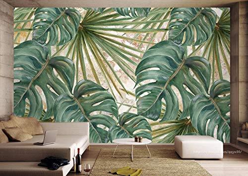 gemalte Kulisse Fototapete Pflanzen grüne Blätter Tapeten für Wohnzimmer dekorative Gemälde Zxfcccky-350X250CM -