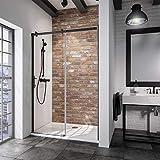Schulte porte de douche coulissante, paroi en niche Black Style, profilé noir, verre transparent, 120x200 cm