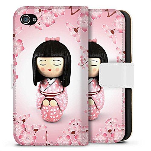 Apple iPhone X Silikon Hülle Case Schutzhülle Sakura Kokeshi Puppe Asien Sideflip Tasche weiß