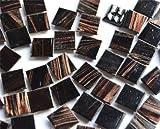 100 St Glasmosaiksteine mit Flimmer schwarz 2x2cm ca. 290g