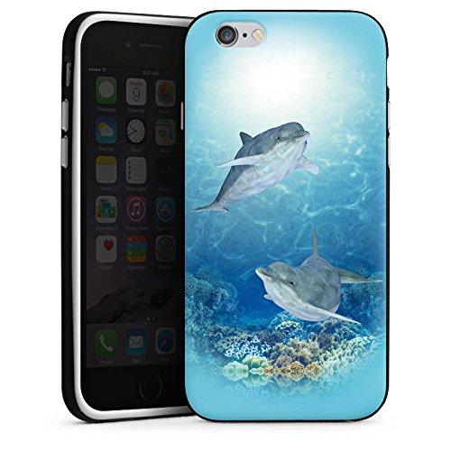 Apple iPhone X Silikon Hülle Case Schutzhülle Happy Dolphins Delfin Meer Silikon Case schwarz / weiß