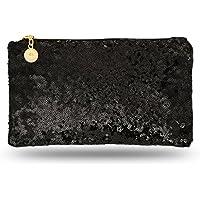 Lady Donovan - bolso de noche Noble para damas y niñas - clutch bolsa con cierre de cremallera - ideal para una fiesta o una boda - reluciente - negro