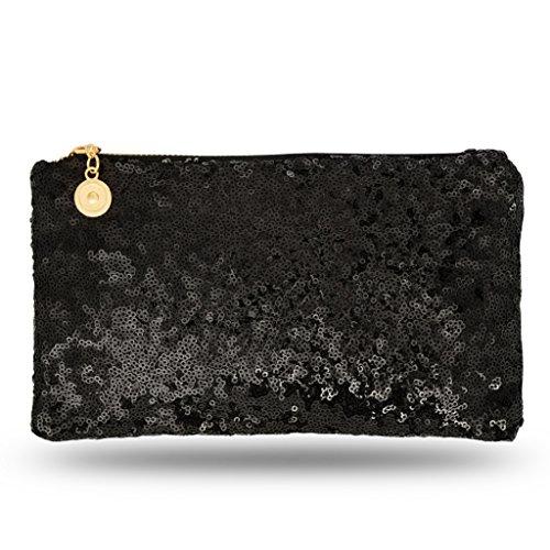 8ea06ab45e905 Lady Donovan - Clutch - Edle Abendtasche für Damen und Mädchen -  Portemonnaie mit Reißverschluß - ideal für die Party oder Hochzeit -  glitzernd - Schwarz
