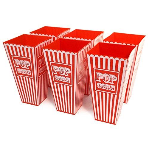 Gestreifte Popcorn-Behälter, USA-Retro-Stil, Kunststoff, ca. 20cm hoch, ideal für Filmabende, Kinobesuche und Partys, 6 Stück