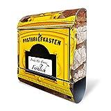 Banjado Design Briefkasten personalisiert mit Motiv WT historischer Postkasten | Stahl pulverbeschichtet mit Zeitungsrolle | Größe 39x47x14cm, 2 Schlüssel, A4 Einwurf, inkl. Montagematerial