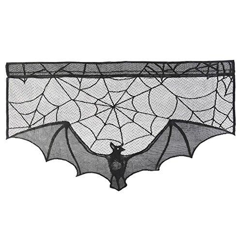 XIYAOStricken Spitze Gruselig Lampenschirm Kamin Abdeckung Vorhang Halloween Schwarz Spinne Netz Fledermaus Herd Dekoration