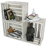 LAUBLUST 3er Set Sehr Große Vintage Holzkisten - 50x40x30cm, Weiß Lackiert, Unbenutzt | Möbel-Kiste | Wein-Kiste | Obst-Kiste | Apfel-Kiste | Deko-Kiste aus Holz