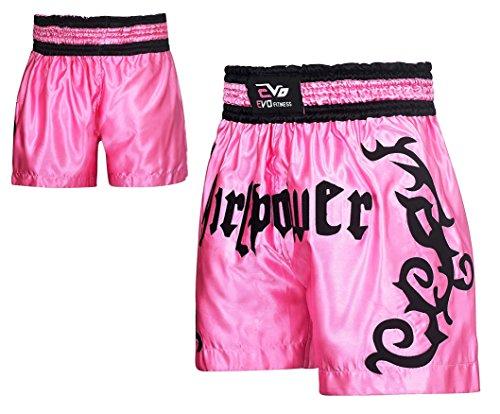 EVO Fitness Evo Damen Muay Thai Wettkampfhose MMA Kickboxen Ringen Kriegerisch Arts Ausrüstung UFC Mädchen - Rosa, X-Small (Thai-art Muay)