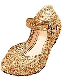 GenialES Disfraz Sandalias de Vestido con Tacón Plástico Princesa Queen  Balnco para Cumpleaños Carnaval Fiesta Cosplay ac51a2fe083e