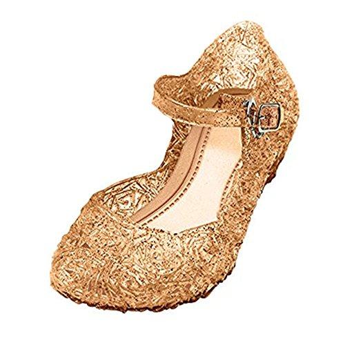 GenialES Prinzessin Gelee Partei Absatz-Schuhe Sandalen für Kinder Glanz Prinzessin Weihnachten Verkleidung Karneval Party Halloween Fest, Beige, Gr.30(Herstellergröße 32)/Länge185