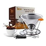 Techo DIY pour over reutilizable filtros de café 4tazas acero inoxidable cono goteo con soporte cuchara Cepillo