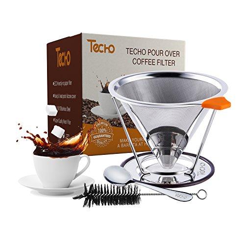 TECHO Edelstahl Kaffeefilter Papierlos Handfilter Wiederverwendbarer  Mit Löffel und Pinsel Für bis zu 4 Tassen (Top Mit Tie Micro)