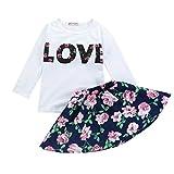 Kinder Kleidung Set, Sonnena Baby Mädchen Ärmellos Love Drucken Tops Weste T-Shirt +Blumendrucken Kurz Rock Outfits Set Babykleidung Kinderkleider für 2-6 Jahre (4 Jahre, Marine)